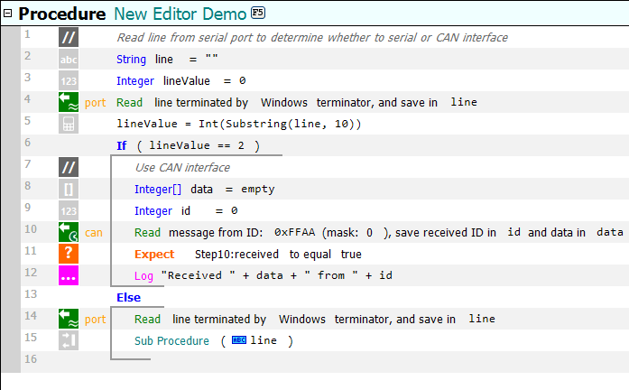 An example procedure shown using the new flat editor look